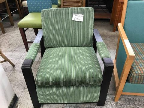 Comfy, Cozy Green Striped Chair
