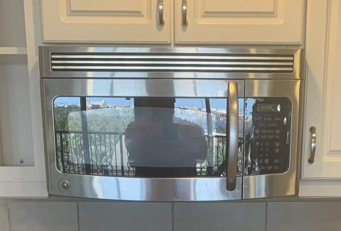 Over the range stainless microwave.